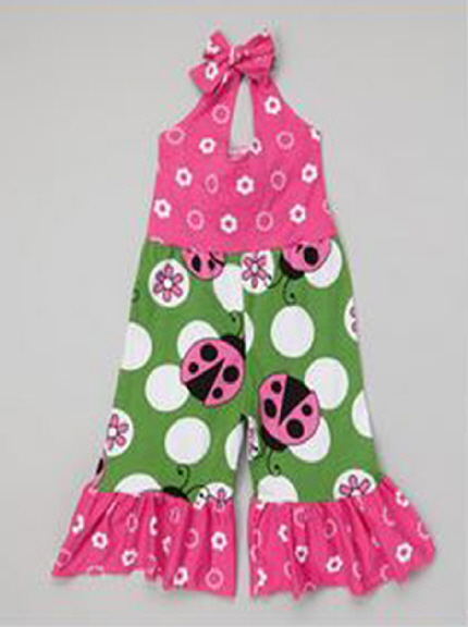 pink green lady bug jumpsuit